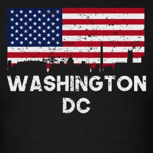 Washington DC American Flag Skyline Distressed - Men's T-Shirt