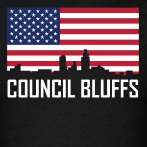 Council Bluffs Iowa Skyline American Flag - Men's T-Shirt