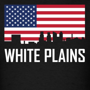White Plains New York Skyline American Flag - Men's T-Shirt