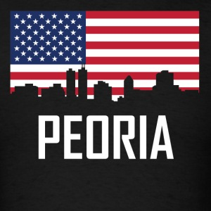 Peoria Illinois Skyline American Flag - Men's T-Shirt