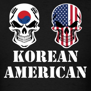 Korean American Flag Skulls - Men's T-Shirt
