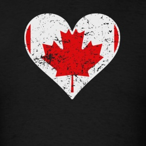 Distressed Canadian Flag Heart - Men's T-Shirt