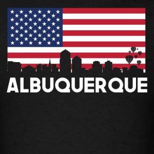 Albuquerque NM American Flag Skyline - Men's T-Shirt