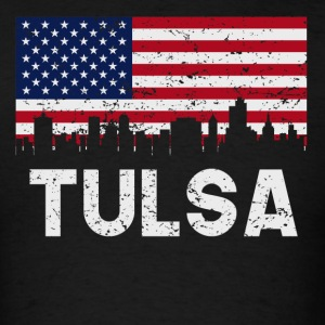Tulsa OK American Flag Skyline Distressed - Men's T-Shirt