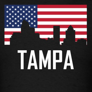 Tampa Florida Skyline American Flag - Men's T-Shirt
