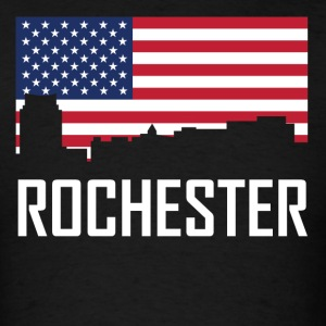 Rochester Minnesota Skyline American Flag - Men's T-Shirt