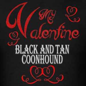 A romantic Valentine with my Black and Tan Coonhou - Men's T-Shirt