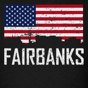Fairbanks Alaska Skyline American Flag Distressed - Men's T-Shirt