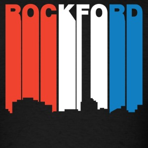 Red White And Blue Rockford Illinois Skyline - Men's T-Shirt