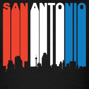Red White And Blue San Antonio Texas Skyline - Men's T-Shirt