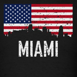 Miami Florida Skyline American Flag Distressed - Men's T-Shirt