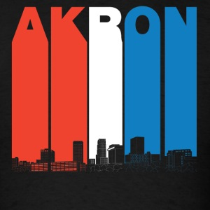 Red White And Blue Akron Ohio Skyline - Men's T-Shirt