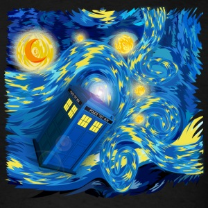 Blue Phone Booth At Starry night - Men's T-Shirt