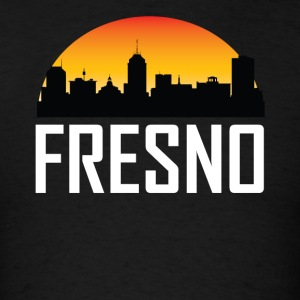 Sunset Skyline Silhouette of Fresno CA - Men's T-Shirt