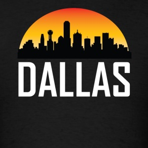 Sunset Skyline Silhouette of Dallas TX - Men's T-Shirt