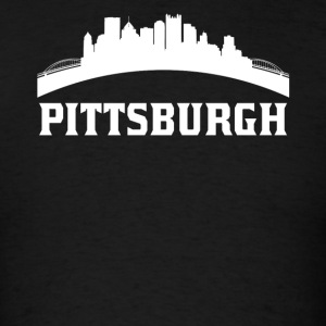 Vintage Style Skyline Of Pittsburgh PA - Men's T-Shirt