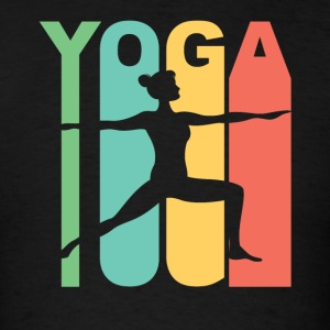 Vintage Style Warrior Two Yoga Pose Silhouette - Men's T-Shirt
