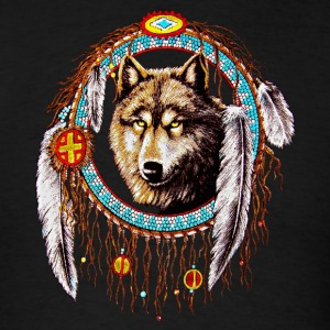 Wolf dream catcher Indian Native - Men's T-Shirt