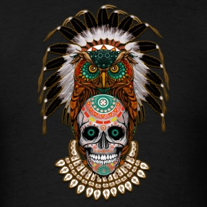 indian native Owl sugar Skull - Men's T-Shirt