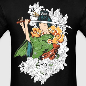 Japanese woman with Samurai sword - Men's T-Shirt