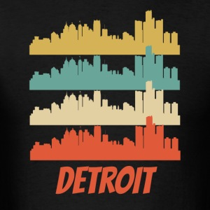Retro Detroit MI Skyline Pop Art - Men's T-Shirt
