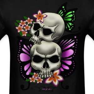BUTTERFLY SKULLS WITH PLUMERIA - Men's T-Shirt