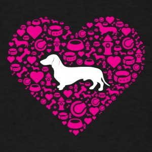 Dachshund Pink Heart Icons Shirt - Men's T-Shirt