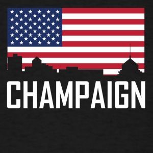 Champaign Illinois Skyline American Flag - Men's T-Shirt