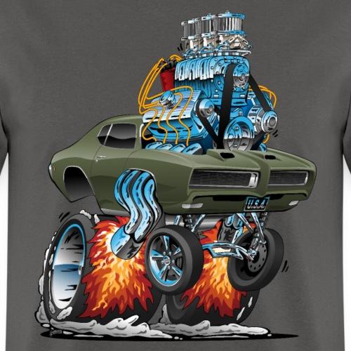 Classic American Muscle Car Hot Rod Cartoon - Men's T-Shirt