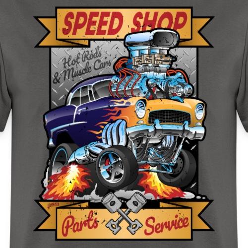 Speed Shop Hot Rod Muscle Car Cartoon Illustration - Men's T-Shirt