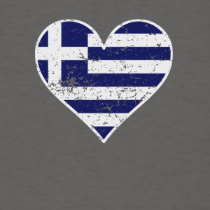 Distressed Greek Flag Heart - Men's T-Shirt
