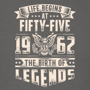 Life Begins at Fifty-Five Legends 1962 for 2017 - Men's T-Shirt