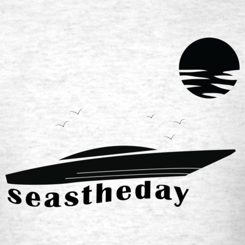 Seas the Day Maritime Speedboat Powerboat Boater. - Men's T-Shirt