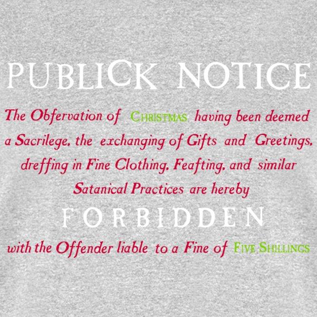 Boston Christmas Ban Notice 1659