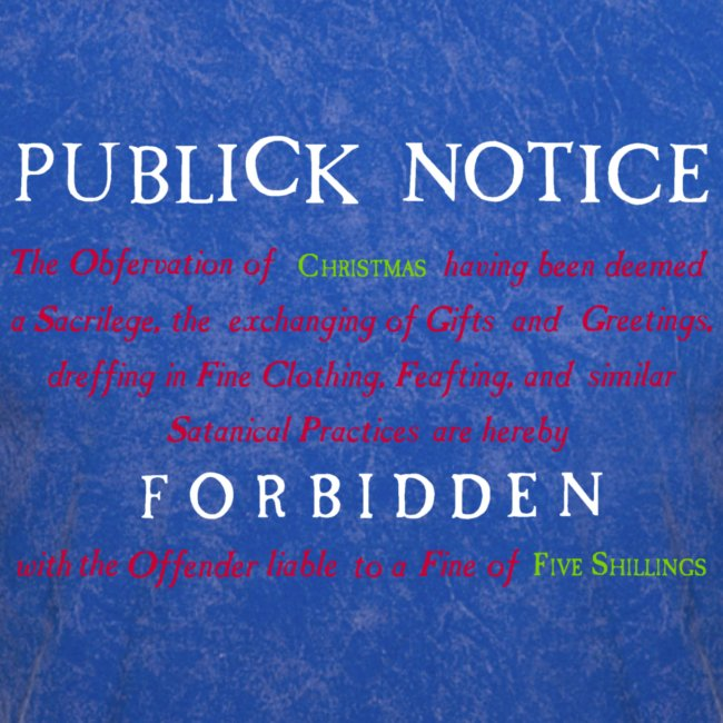 Boston Christmas Ban Notice 1659