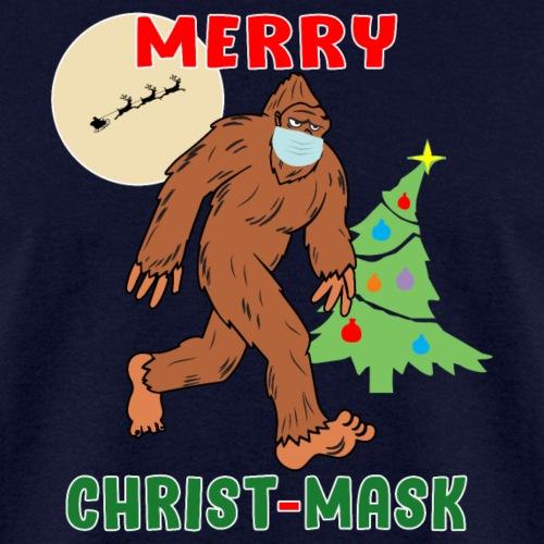 Merry Christmask Sasquatch Mask Social Distance. - Men's T-Shirt