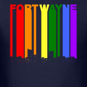 Fort Wayne Indiana Skyline Rainbow LGBT Gay Pride - Men's T-Shirt