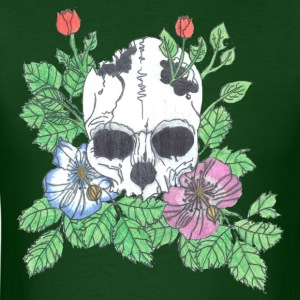 Pink and Blue Flower Skull - Men's T-Shirt