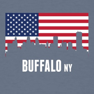 American Flag Buffalo Skyline - Men's T-Shirt