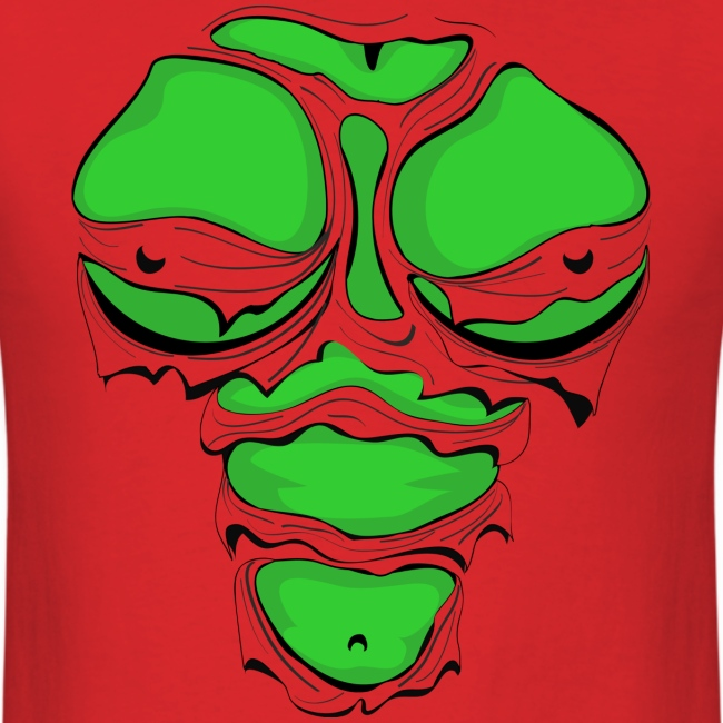 Ripped Muscles Female Green, chest T-shirt,