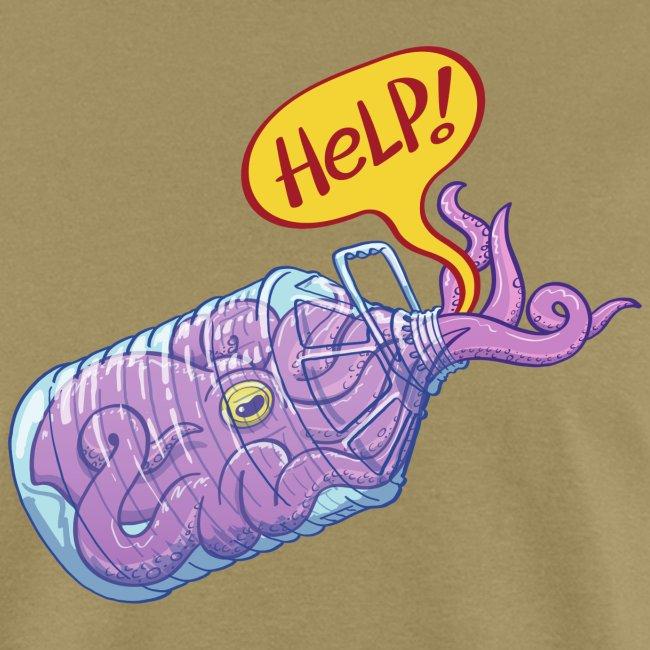 Octopus inside plastic bottle asking for help
