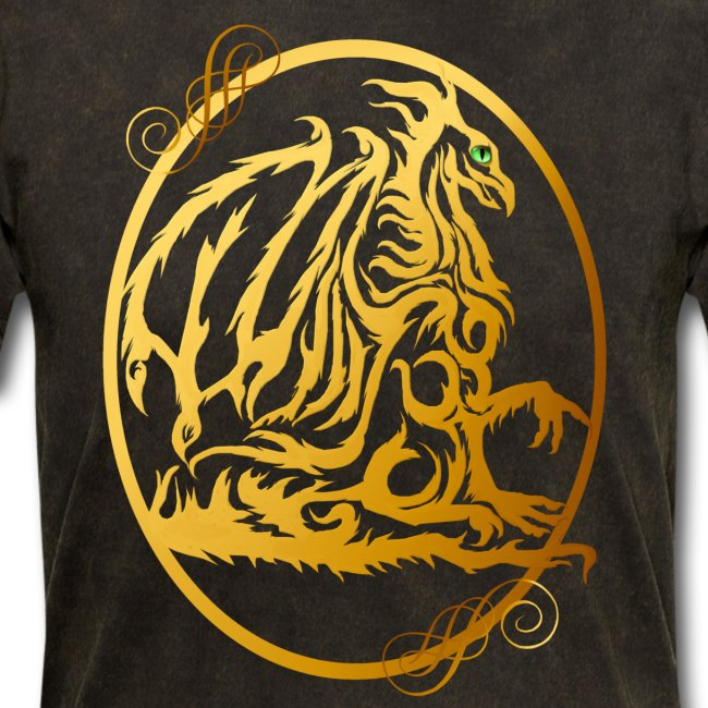 Gold Dragon Oval Design