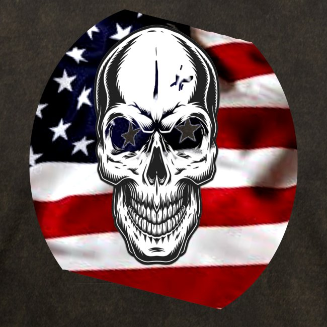 Flag at angle with Skull Rounded