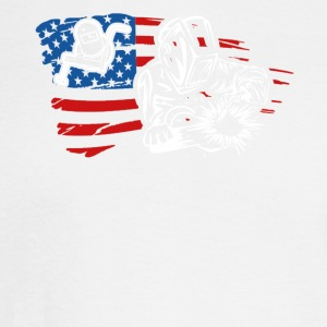 US Flag Welder Tee Shirt - Men's Long Sleeve T-Shirt