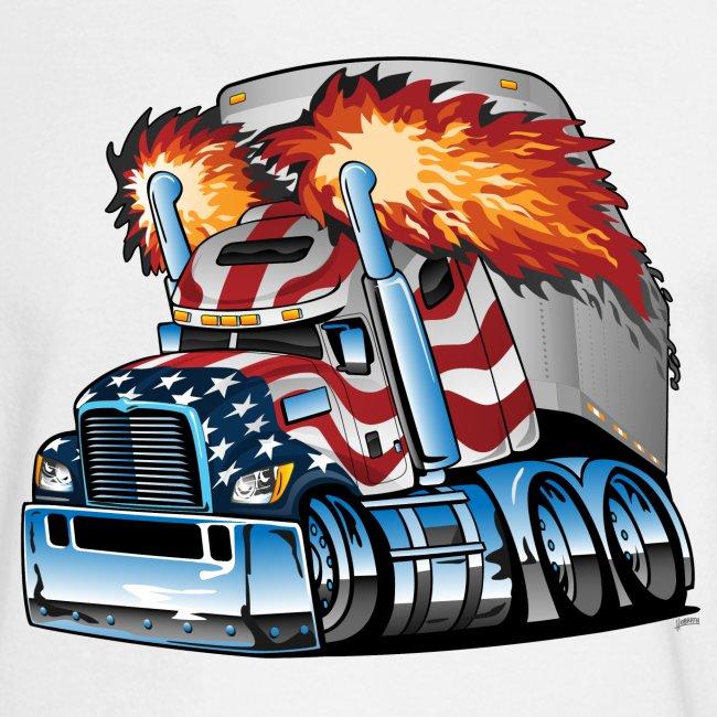 Patriotic American Flag Semi Truck Tractor Trailer