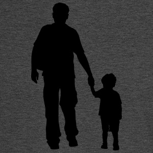 walking dad and son silhouettes - Men's Long Sleeve T-Shirt