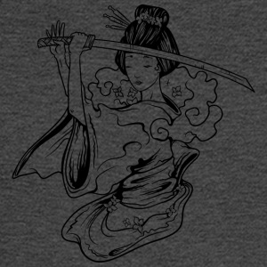 Geisha_with_samurai_sword_black - Men's Long Sleeve T-Shirt