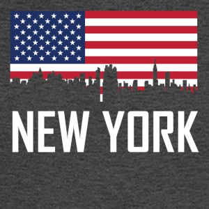 New York City Skyline American Flag - Men's Long Sleeve T-Shirt