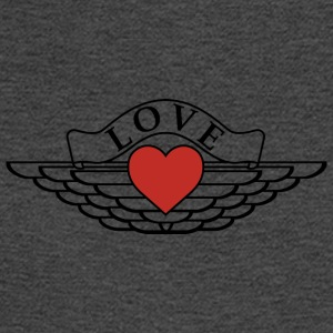 Love - Wings Design (Black Outline/Red Heart) - Men's Long Sleeve T-Shirt