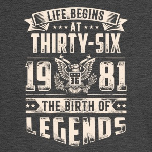 Life Begins at Thirty-Six Legends 1981 for 2017 - Men's Long Sleeve T-Shirt